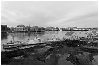 River and Portsmouth skyline. Portsmouth, New Hampshire, USA (black and white)