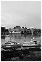 Fishing boats and Portsmouth skyline. Portsmouth, New Hampshire, USA ( black and white)