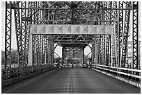 Roadway and lift bridge opening. Portsmouth, New Hampshire, USA (black and white)