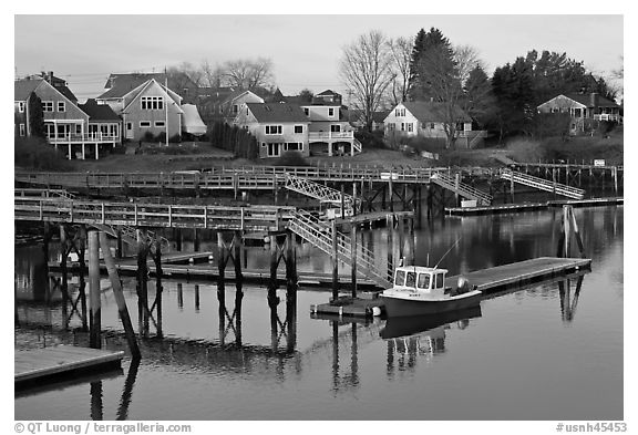 Houses and private boat decks. Portsmouth, New Hampshire, USA (black and white)