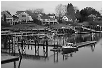 Houses and private boat decks. Portsmouth, New Hampshire, USA ( black and white)