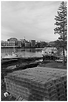 Lobster traps and city skyline. Portsmouth, New Hampshire, USA (black and white)