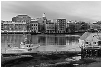 Fishing boat, shack, and waterfront buildings. Portsmouth, New Hampshire, USA ( black and white)