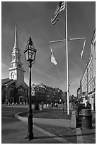 Market Square. Portsmouth, New Hampshire, USA ( black and white)