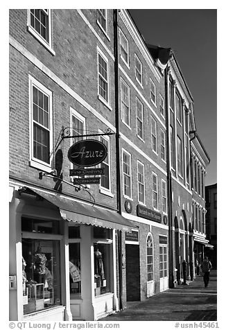 Brick buildings, market square. Portsmouth, New Hampshire, USA (black and white)