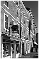 Brick buildings, market square. Portsmouth, New Hampshire, USA ( black and white)