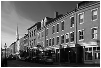 Street and church. Portsmouth, New Hampshire, USA ( black and white)