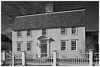 Oracle House, 1702, one of the oldest in New England. Portsmouth, New Hampshire, USA ( black and white)