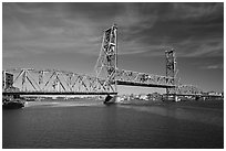 Memorial bridge. Portsmouth, New Hampshire, USA ( black and white)