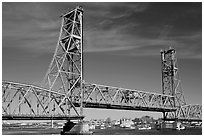 Vertical lift bridge moving upwards. Portsmouth, New Hampshire, USA ( black and white)