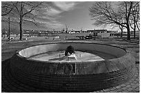 Empty basin, Prescott Park. Portsmouth, New Hampshire, USA ( black and white)