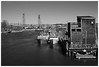 Commercial fishing dock. Portsmouth, New Hampshire, USA ( black and white)
