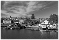 Waterfront houses. Portsmouth, New Hampshire, USA ( black and white)