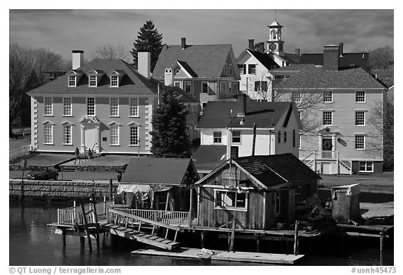 Historic houses on waterfront. Portsmouth, New Hampshire, USA (black and white)