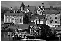Historic houses on waterfront. Portsmouth, New Hampshire, USA ( black and white)