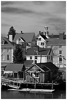 Group of historic houses. Portsmouth, New Hampshire, USA ( black and white)