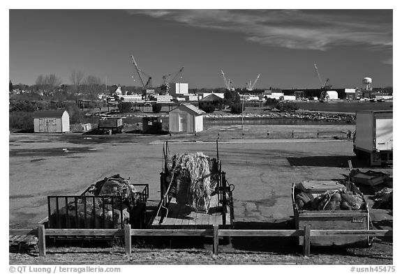 Fishing equipment on fish pier. Portsmouth, New Hampshire, USA (black and white)