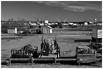 Fishing equipment on fish pier. Portsmouth, New Hampshire, USA ( black and white)