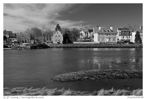 Waterfront with houses and church. Portsmouth, New Hampshire, USA (black and white)