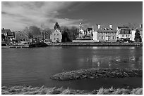 Waterfront with houses and church. Portsmouth, New Hampshire, USA ( black and white)