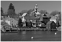 Old wooden houses and church. Portsmouth, New Hampshire, USA ( black and white)