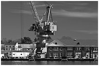 Crane, Naval Shipyard. Portsmouth, New Hampshire, USA (black and white)