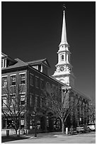 Street and white steepled church. Portsmouth, New Hampshire, USA ( black and white)