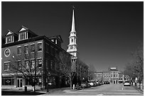 Downtown view with street and church. Portsmouth, New Hampshire, USA ( black and white)