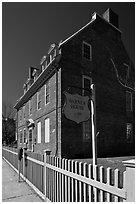 Warner house and fence. Portsmouth, New Hampshire, USA (black and white)