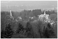 View from above with church and town hall. Walpole, New Hampshire, USA (black and white)