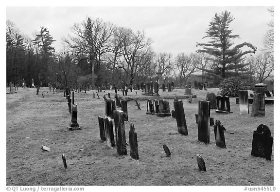 Slate headstones in cemetery. Walpole, New Hampshire, USA