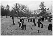 Slate headstones in cemetery. Walpole, New Hampshire, USA (black and white)