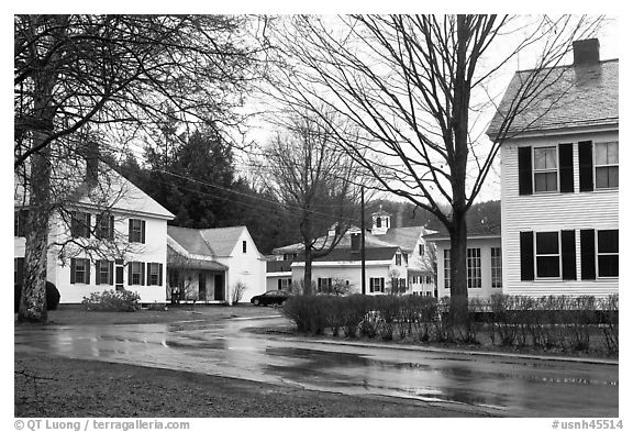 Houses. Walpole, New Hampshire, USA (black and white)