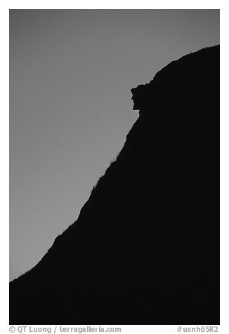 Old man of the mountain at dusk, Franconia Notch State Park. New Hampshire, USA (black and white)