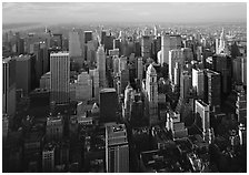 Mid-town Manhattan skyscrapers from above, late afternoon. NYC, New York, USA ( black and white)