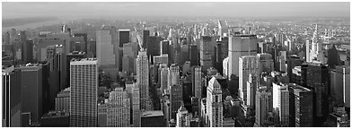 New York cityscape. NYC, New York, USA (Panoramic black and white)