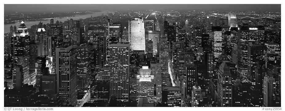 Manhattan night cityscape. NYC, New York, USA (black and white)