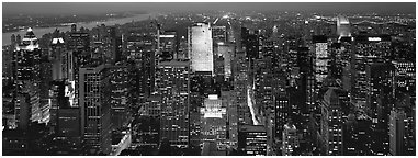 Manhattan night cityscape. NYC, New York, USA (Panoramic black and white)