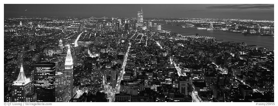 New York night cityscape. NYC, New York, USA (black and white)