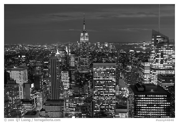 Night skyline with Empire State Building. NYC, New York, USA (black and white)