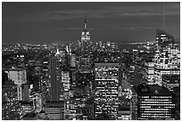 Night skyline with Empire State Building. NYC, New York, USA ( black and white)