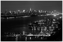 Hudson River and New York skyline at night. NYC, New York, USA ( black and white)