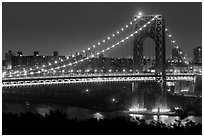 Washington Bridge at night. NYC, New York, USA ( black and white)