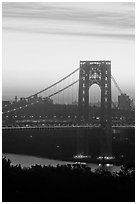 Washington Bridge at dawn from New Jersey. NYC, New York, USA ( black and white)