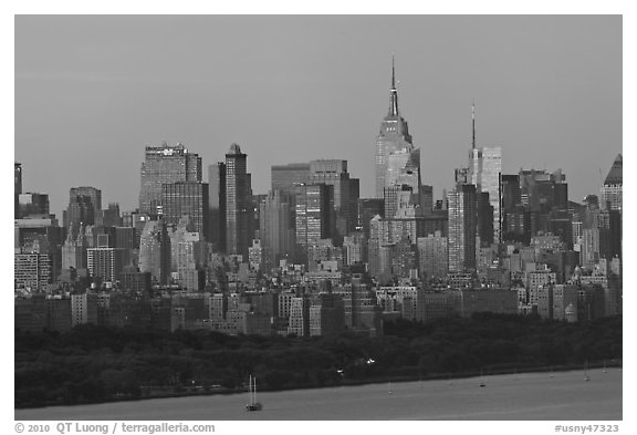 Manhattan skyline at sunrise. NYC, New York, USA (black and white)