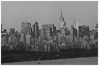 Manhattan skyline at sunrise. NYC, New York, USA ( black and white)