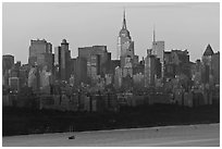 New York skyline  with Empire State Building, sunrise. NYC, New York, USA (black and white)