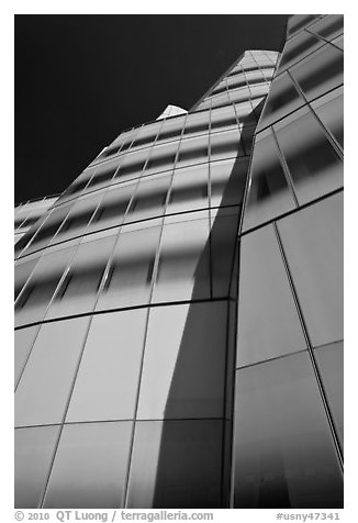 Looking up facade of IAC building. NYC, New York, USA (black and white)