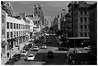Street seen from above. NYC, New York, USA (black and white)