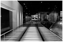 Corridor and TV screen, Bloomberg building. NYC, New York, USA (black and white)